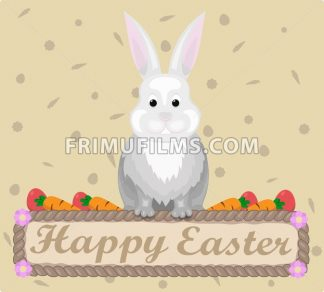 Happy Easter rabbit Vector. Holiday card flat style illustration - frimufilms.com