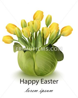 Happy Easter tulip flowers bouquet card Vector. Spring floral beauty Yellow color - frimufilms.com