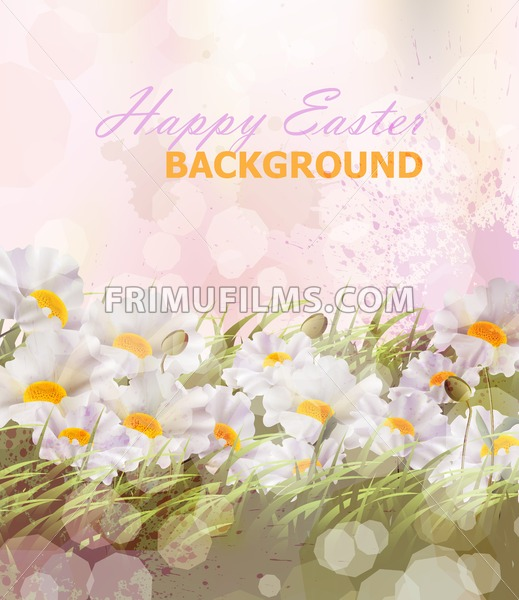 Happy Easter watercolor flowers background Vector illustration - frimufilms.com