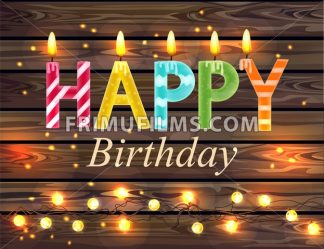 Happy birthday candles text Vector. Wooden lights background - frimufilms.com