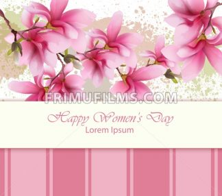 Happy women day flowers card Vector. Watercolor delicate floral template. Lovely greeting vintage splash background - frimufilms.com