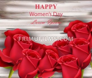 Happy women day red roses on wooden background Vector illustration - frimufilms.com