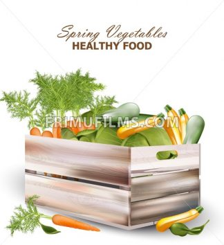 Healthy spring vegetables in a wooden box Vector realistic illustration - frimufilms.com
