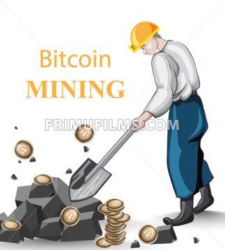 Human mining Bitcoins vintage concept. Vector illustration - frimufilms.com