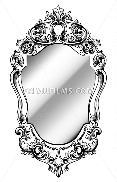 Imperial Baroque Mirror frame. Vector French Luxury rich intricate ornaments. Victorian Royal Style decor - frimufilms.com
