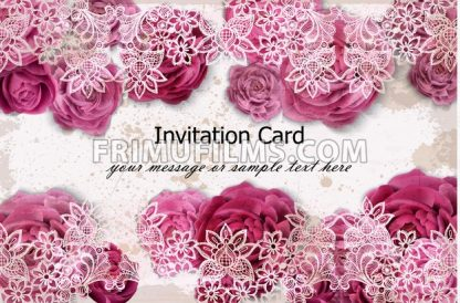 Invitation card with rose flowers and delicate lace decor. Vector illustration - frimufilms.com