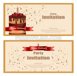 Invitation party card Vector. Birthday, wedding, event celebrate decor - frimufilms.com