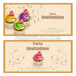 Invitation party card with cupcakes Vector. Birthday, wedding, event, celebrate decor - frimufilms.com