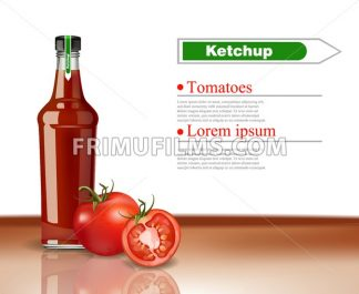 Ketchup Bottle Vector realistic mock up. Product packaging detailed design. Organic tomatoes detailed product - frimufilms.com