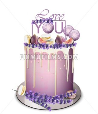 Lavender cake with fig fruits on top Vector realistic. White chocolate frosting. Birthday, anniversary, wedding royal dessert - frimufilms.com