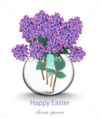 Lilac flowers beautiful bouquet Vector. Spring floral holiday card - frimufilms.com