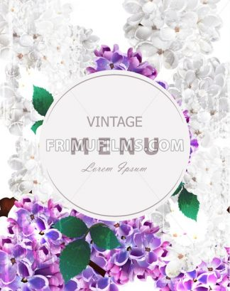 Lilac flowers beautiful round frame card Vector. Spring floral holiday invitation card - frimufilms.com