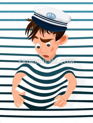 Little boy trapped in a marine background. Vector cartoon character funny face - frimufilms.com