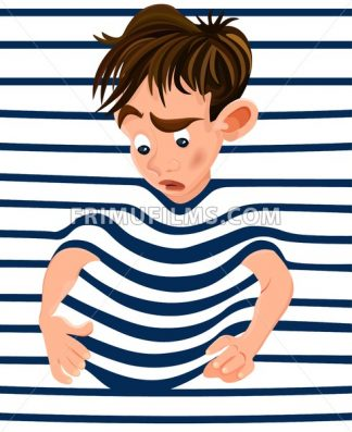 Little boy trapped in a striped background. Vector cartoon character funny face - frimufilms.com