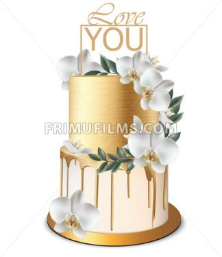 Luxury Gold cake Vector realistic. Birthday, anniversary, wedding delicate royal dessert - frimufilms.com