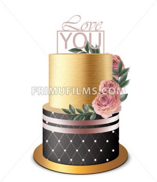 Luxury Gold cake Vector realistic. Birthday, anniversary, wedding royal dessert - frimufilms.com