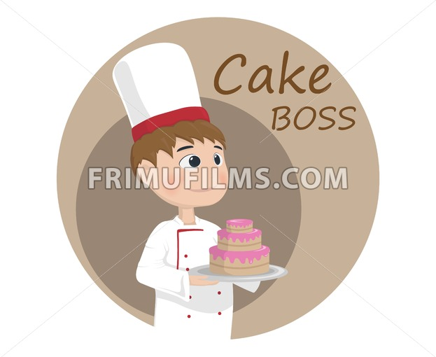 Man cooking chief Vector. Cartoon character Logo template - frimufilms.com