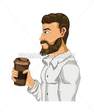 Man drinking coffee Vector cartoon character illustration - frimufilms.com
