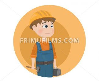 Man worker construction builder Vector. Cartoon character - frimufilms.com