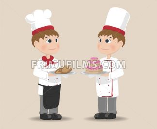 Men cooking chief Vector. Cartoon characters. cake and meat gourmet menu - frimufilms.com