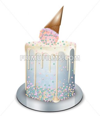 Modern cake ice cream cone on top Vector realistic. Birthday, anniversary, wedding royal dessert - frimufilms.com