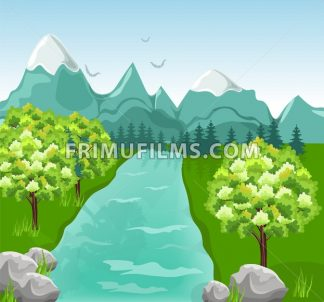Mountains river Vector. Beauty nature Spring green background - frimufilms.com