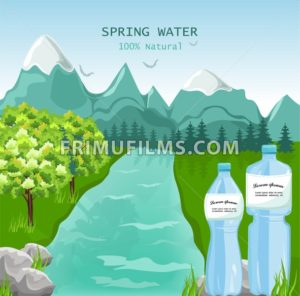 Mountains water Vector. Beauty nature Spring green background - frimufilms.com