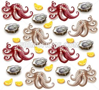 Octopus and oysters pattern Vector realistic. Detailed 3d illustration - frimufilms.com