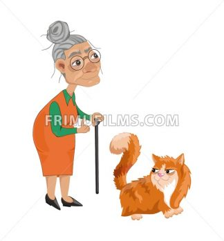 Old lady and a cat Vector. Cartoon character detailed illustration - frimufilms.com