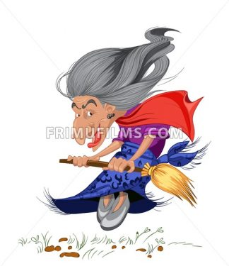 Old witch with a broom. Cartoon character russian style Vector illustration - frimufilms.com