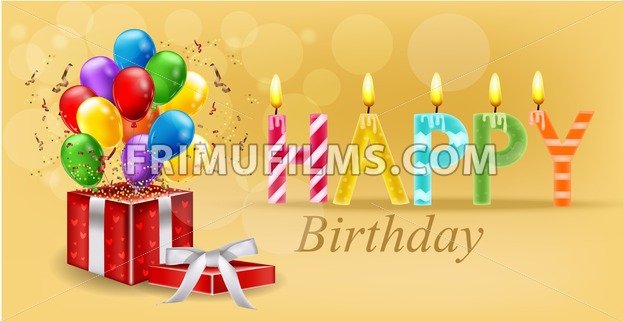 Party Invitation Card With Giftbox And Balloons Vector Happy Birthday Text Celebrate Events Banner Poster