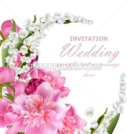Peony flowers and lily of the valley bouquet. Wedding invitation or birthday template. Holiday background. Vector realistic illustration - frimufilms.com