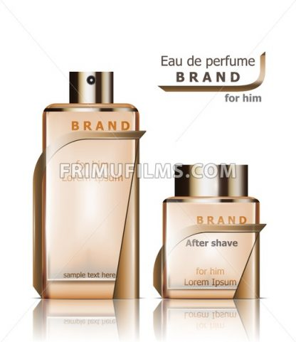 Perfume bottles Vector. Product packaging realistic detailed 3d illustration. Luxury fragrance - frimufilms.com