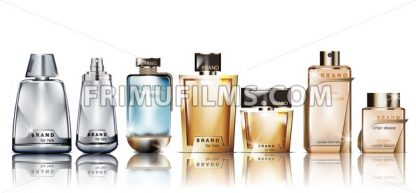 Perfume cosmetics set Vector mock up. Product packaging realistic different perfume bottles - frimufilms.com
