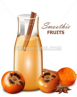 Persimmon fruits smoothie vector realistic. Fresh drink styled background - frimufilms.com