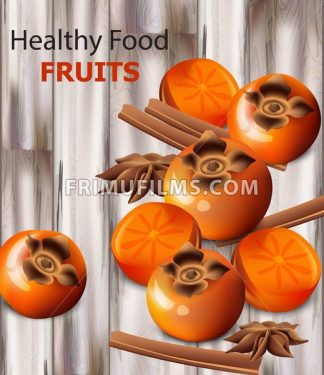 Persimmon fruits vector realistic. Fresh sliced fruits, wooden background, vintage styled background - frimufilms.com