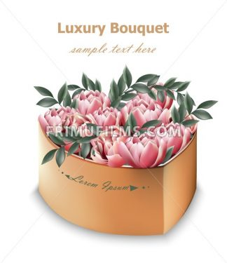 Pink Peony flowers bouquet Vector. Floral decor in a gift box - frimufilms.com