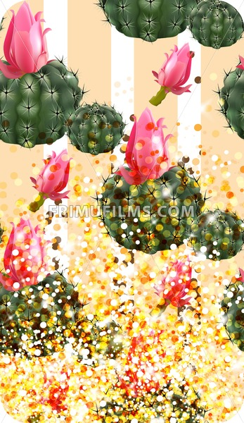 Pink cactus abstract pattern sparkling background Vector illustration - frimufilms.com