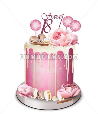 Pink cake with peony flowers on top Vector realistic. White chocolate frosting. Birthday, anniversary, wedding royal dessert - frimufilms.com