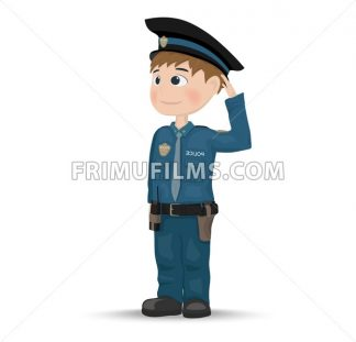 Policeman Vector. Cartoon character. template design illustration - frimufilms.com
