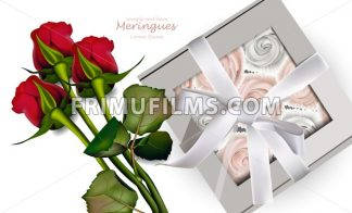 Red Roses bouquet and meringues Vector. Realistic 3d illustration. Gift box - frimufilms.com