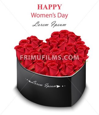 Red roses black box heart shape Vector. Realistic detailed flowers. Romantic bouquet for Women Day, Valentine day or wedding - frimufilms.com