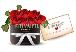 Red roses flowers bouquet card Vector realistic. Beautiful floral background - frimufilms.com