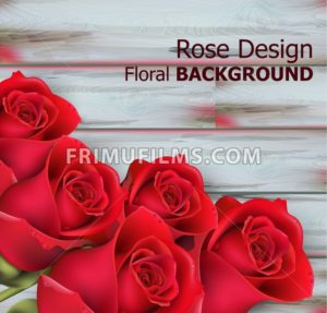 Red roses on wooden background Vector realistic. Beautiful floral background - frimufilms.com