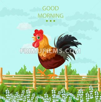 Rooster Vector detailed illustration. colorful springtime background - frimufilms.com