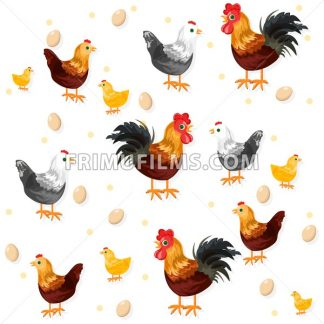 Rooster, chicken and eggs pattern Vector. Eco farming - frimufilms.com