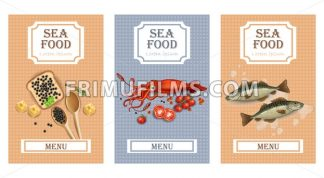 Sea food menu cards Vector realistic. Layout Template with fish, squid and caviar - frimufilms.com
