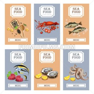 Sea food menu cards Vector realistic. Layout Template with oysters, tuna fish, octopus and caviar - frimufilms.com