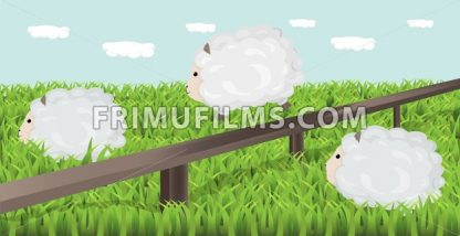 Sheep grazing the grass Vector illustration. Spring background - frimufilms.com
