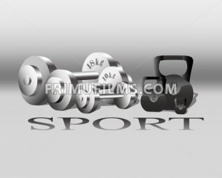 Sport equipment Vector. Fitness Weights. gray background - frimufilms.com